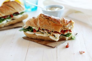 turkey baguette sandwich