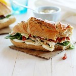 Turkey Baguette with Spinach, Artichoke and Sun Dried Tomatoes with Basil Dijion Aioli