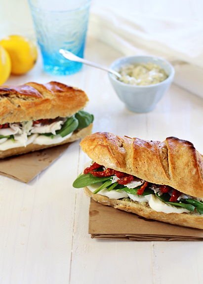 turkey sandwich with sundried tomatoes and artichokes