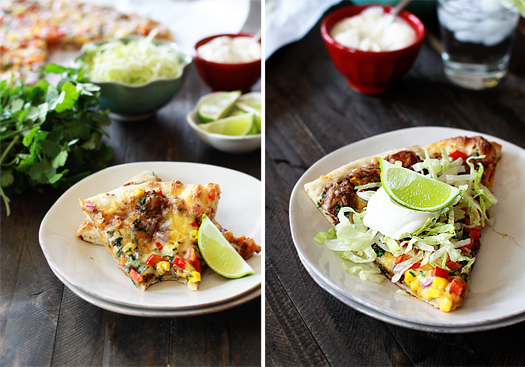 Photo collage showing slices of black bean Mexican pizza.