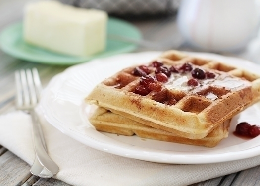 healthier whole wheat flax waffles