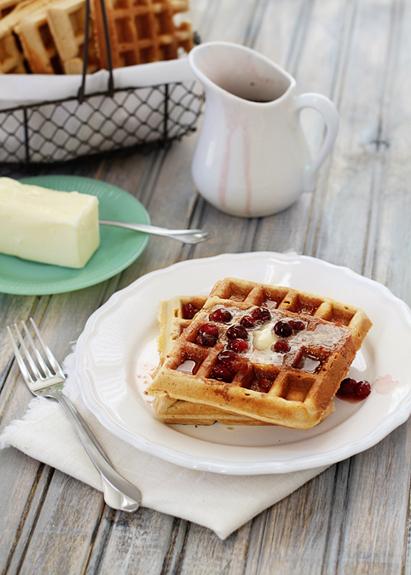 homemade waffles on white plate