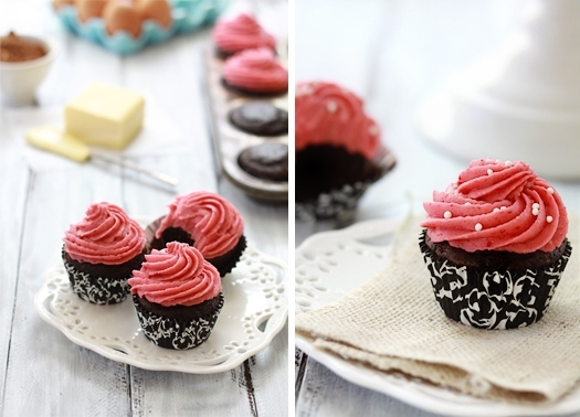 Photo collage showing chocolate raspberry cupcakes on a white dessert plate.