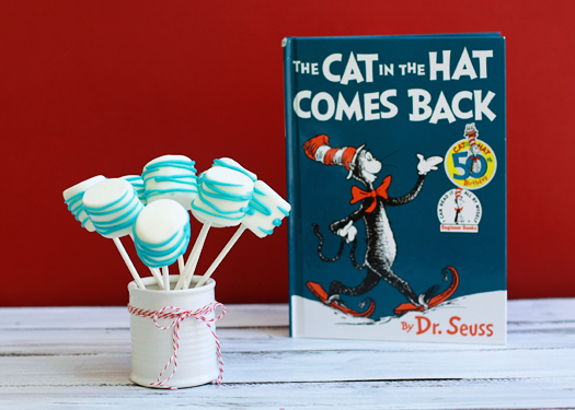 celebrate dr seuss birthday cat in the hat marshmallow pops
