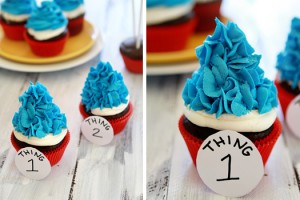 dr seuss party thing 1 thing 2 cupcakes