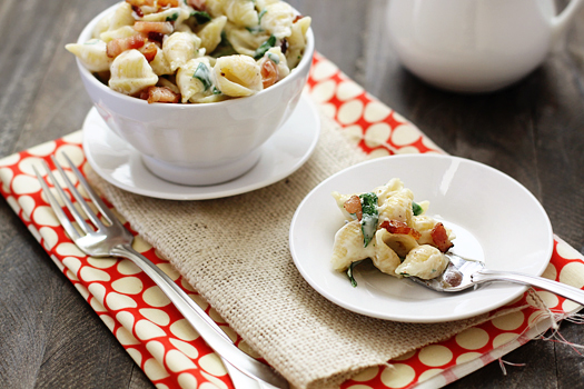 fontina shells and cheese with bacon