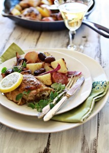 cast iron skillet chicken with lemon and oregano