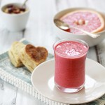 raspberry orange smoothie and cinnamon biscuits