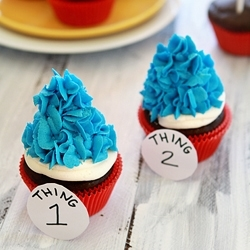 thing one and thing two dr. seuss cupcake birthday