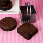 cutting brownies into shapes with biscuit cutter