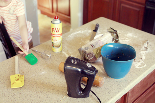 getting messy in the kitchen