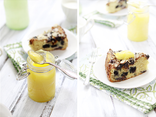Photo collage showing lemon curd in a jar and a slice of lemon blueberry coffee cake