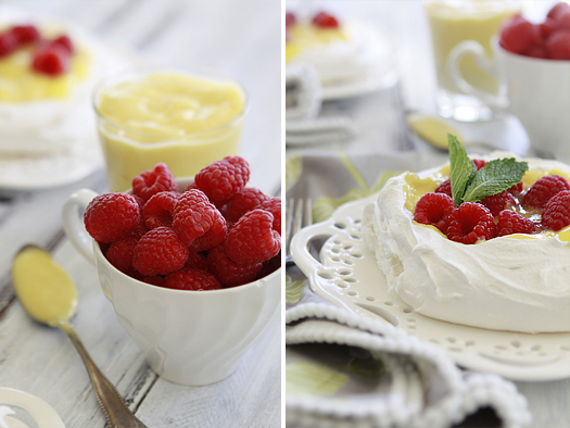 pavlova with raspberries and pastry cream