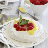 Lemon Curd Pavlova with Raspberries