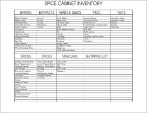 free printable spice cabinet inventory
