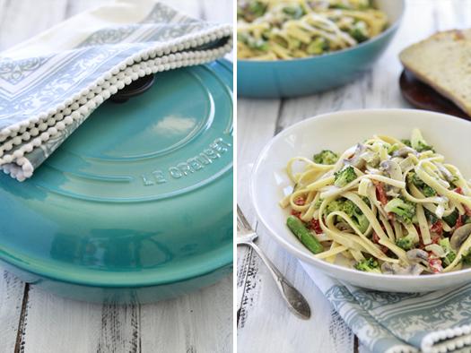 le creuset giveaway - spring pasta dish