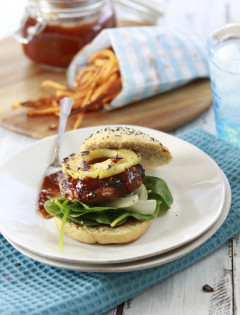 teriyaki bbq sauce and grilled turkey burger