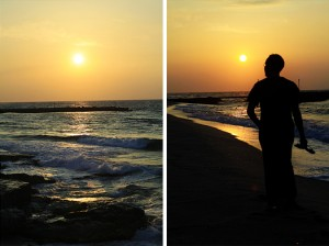 sunset in heraklion northern coast of crete