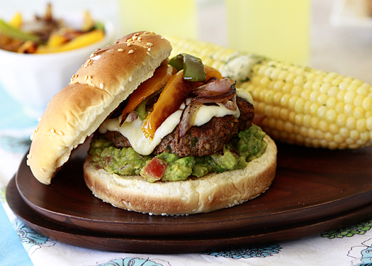 Fajita Burger with Peppers and Guacamole – Good Life Eats