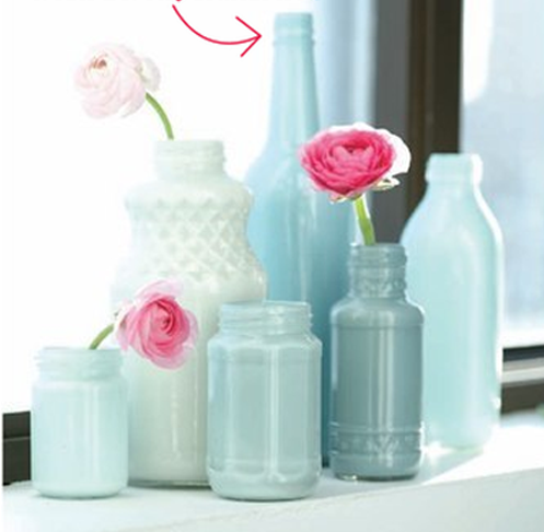 painted bottle vases