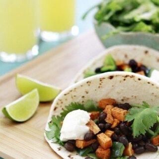 Roasted Sweet Potato and Black Bean Tacos