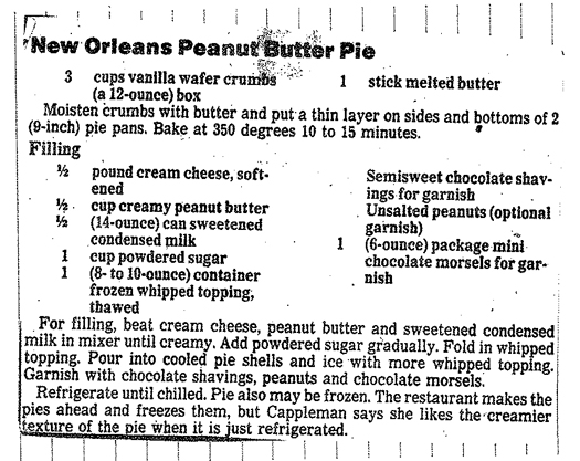 new orleans peanut butter pie