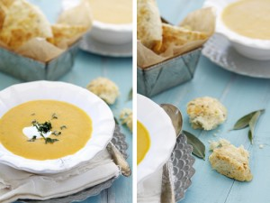 butternut squash apple soup and gruyere scones