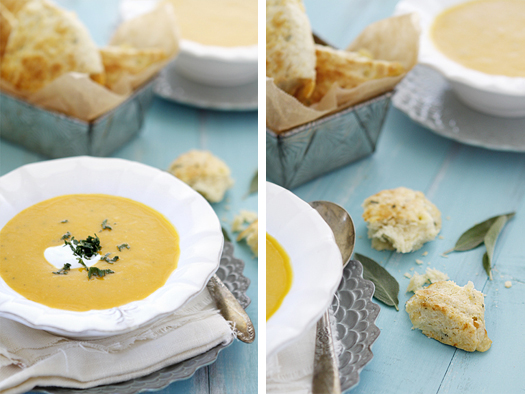 A photo collage showing a bowl of butternut squash soup next to a container of savory scones.