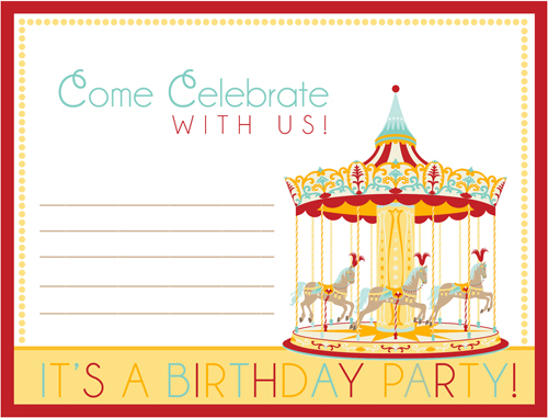 free printable carnival birthday party invitation