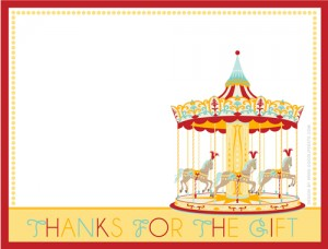 free printable carnival birthday party thank you notes