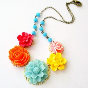 vintage flower necklace etsy