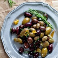 Marinated Olives with Garlic, Thyme and Rosemary