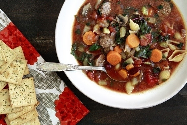 Winter Minestrone Soup with Swiss Chard and Sausage