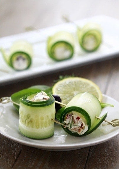 These Cucumber Feta Rolls are the perfect holiday appetizer!