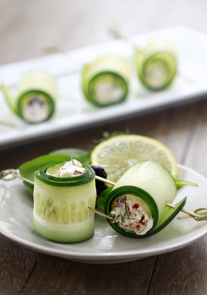 cucumber rolls with feta