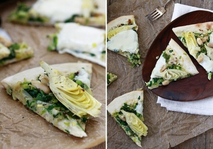 Artichoke Spinach Pizza with White Beans | One thing that I love about pizza for dinner, is you don't have to have a set recipe. It's fun to think outside the box. Look at what you have in the fridge and how you can put that together into a new recipe.