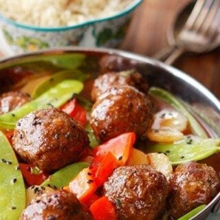 Sweet and Sour Asian Meatballs with Vegetables
