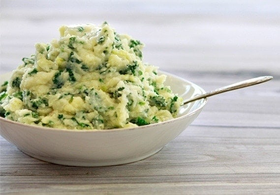 Colcannon with Leeks and Kale is the perfect side dish for your St. Patrick's Day Menu. Colcannon is a traditional Irish dish created mostly from mashed potatoes and cabbage or kale.