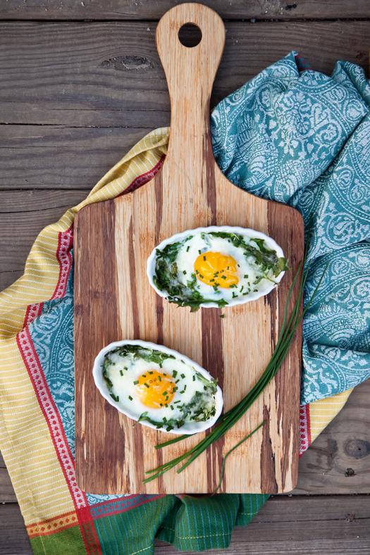 recipe for arugula baked eggs