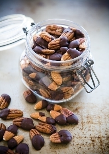 Chocolate Dipped Nuts | When you use high-quality dark chocolate, at least 60% cacao, this recipe for Chocolate Dipped Nuts is a healthy and delicious way to survive sweet cravings.