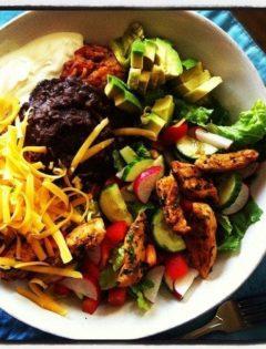 homemade spanish rice taco salad bowls