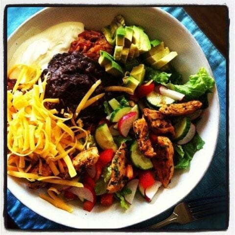 Taco Salad Bowls with Homemade Spanish Rice