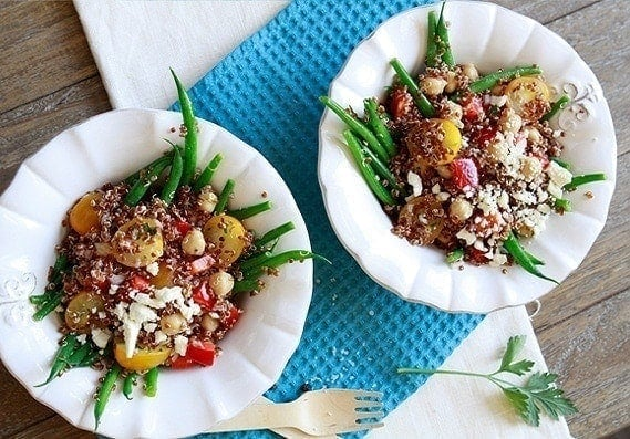 Quinoa Salad with Haricot Verts | This recipe features quinoa with yellow cherry tomatoes, red bell peppers, haricot verts (French green beans), garbanzo beans, and a shallot lemon dijion dressing.