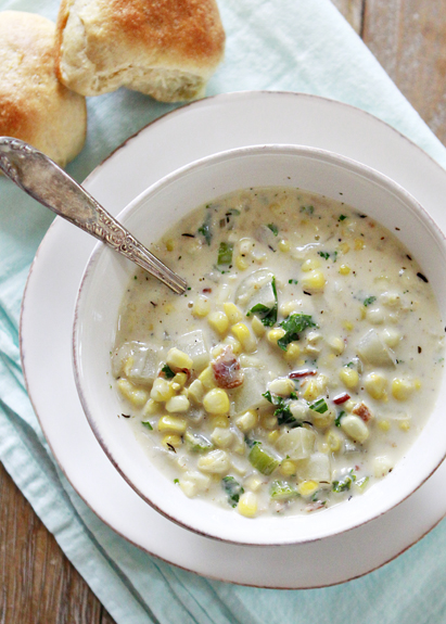 corn chowder potato corn chowder with kale and bacon