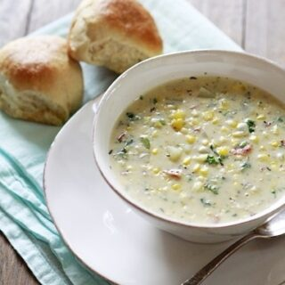 Potato Corn Chowder with Kale and Bacon