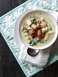 rosemary chicken chowder with white beans and kale