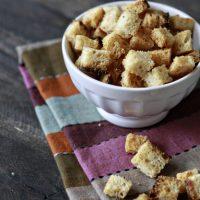 Homemade Sourdough Garlic Butter Croutons