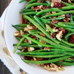 garlic and bacon sauteed green beans with walnuts