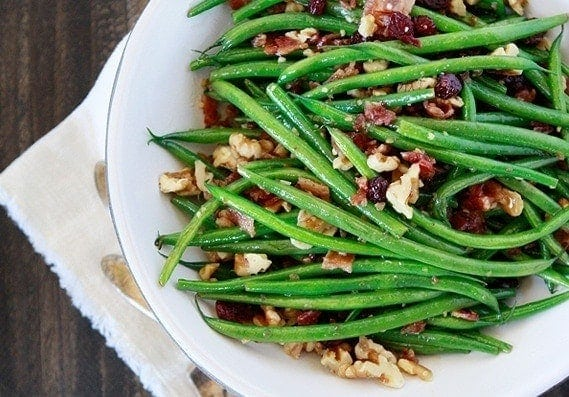 SautéedGreen Beans with Walnuts, Bacon, and Cranberries