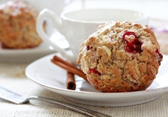 Apple Cranberry Oatmeal Muffins are the perfect hearty, fall muffin to enjoy on a cold morning.